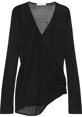 Kain Label Arabella modal and silk-blend jersey wrap-effect top
