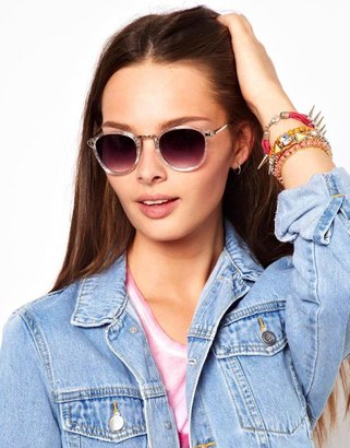 A. J. Morgan AJ Morgan Castro Glittler Round Sunglasses