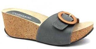 "Cordani Apollo"" Grey Leather & Cork Slide Wedge Sandal"