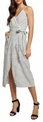 Dex Striped Cotton Wrap Dress