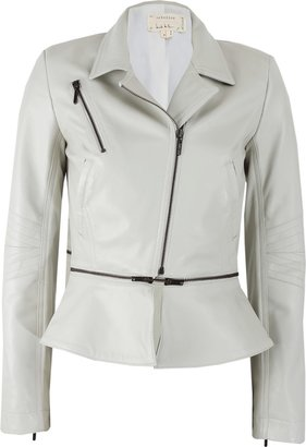 Nicole Miller Long Sleeve Leather Jacket with Zip Off Peplum