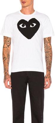 Comme des Garcons Emblem Cotton Tee in White & Black | FWRD