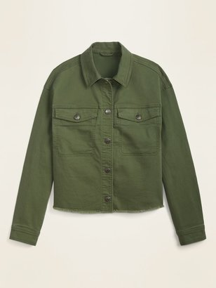 Old Navy Cropped Twill Utility Cut-Off Jacket for Women