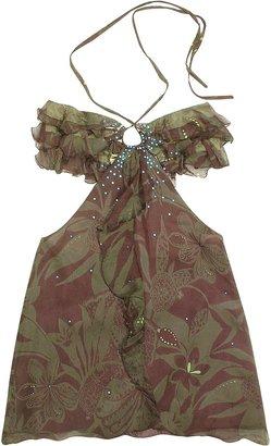 Hafize Ozbudak Floral Printed Ruched Front Silk Halter Top