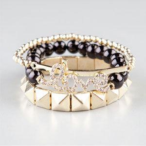Full Tilt 3 Piece Love/Pyramid/Cross Bracelets
