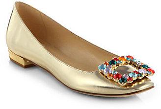Kate Spade Norella Metallic Leather Rhinestone Buckle Ballet Flats