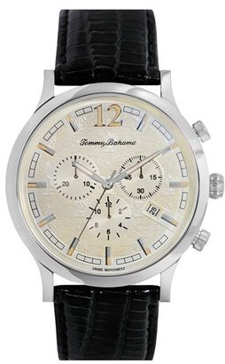 Tommy Bahama 'Steel Drum' Chronograph Leather Strap Watch, 42mm