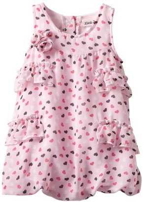 Little Lass Baby-girls Infant 1 Piece Bubble Creeper With Ruffles and Hearts Print