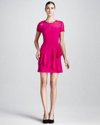 DKNY Mesh-Top Ruffled Dress