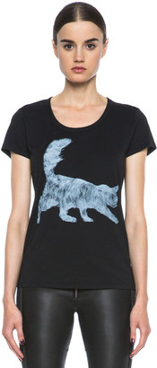 Tess Giberson Cat Print Cotton-Blend Tee in Black & White