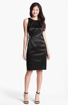 Eliza J Embellished Side Ruched Sheath Dress