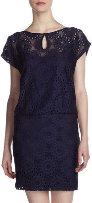 Laundry by Shelli Segal Stretch-Lace Blouson Dress, Inkblot