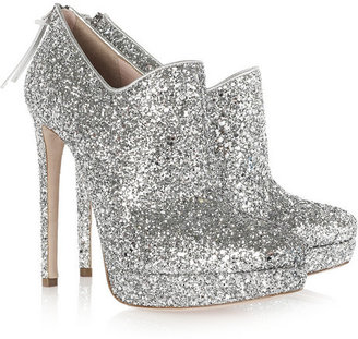 Miu Miu Glitter-finish leather ankle boots