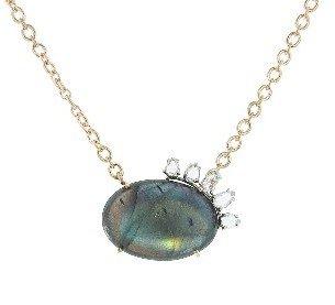 Irene Neuwirth Oval Labradorite Pendant with Rose Cut Diamonds - Rose Gold