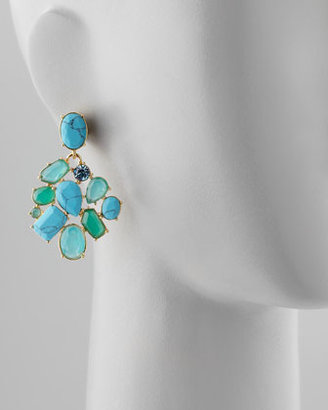 Kate Spade Crystal Cluster Bib Clip Earrings, Turquoise