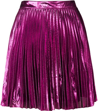 Topshop **Metallic Pleated Mini Skirt by Lashes Edit