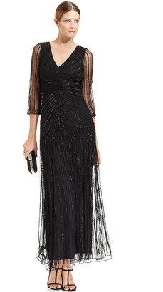 Pisarro Nights Three-Quarter-Sleeve Illusion Beaded Gown