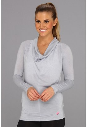 Ryka Draped Neck Top (Chrome Silver) Women's Long Sleeve Pullover