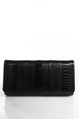 Designer Black Ostrich Medium Clutch Handbag