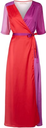 Traffic People Wrap 3-4 Sleeve Maxi Dress In Red And Purple