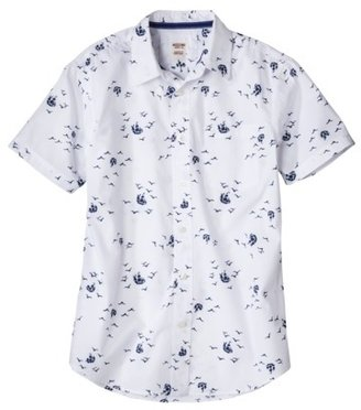 Mossimo Men's Short Sleeve Tropical Button Down - White Sailboat Print