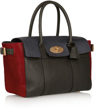 Mulberry Bayswater Buckle color-block leather and calf hair tote