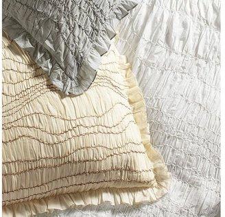 Pottery Barn Ruched Voile Duvet Cover & Sham - White