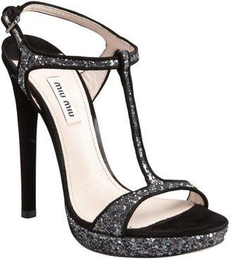 Miu Miu Black And Silver Glitter Suede Strappy Heel Sandals
