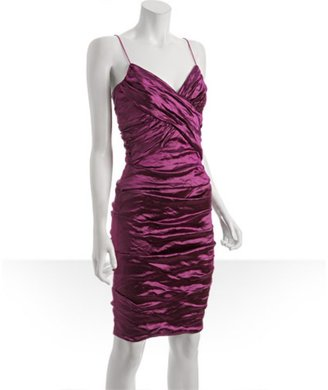 Nicole Miller magenta stretch metal ruched cross front dress