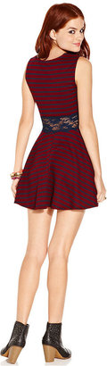 American Rag Juniors Dress, Sleeveless Striped Lace Skater