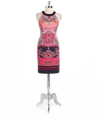 Adrianna Papell Printed Halter Cocktail Dress