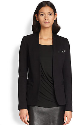Bailey 44 Chasis Faux Leather-Trimmed Stretch Knit Tuxedo Jacket