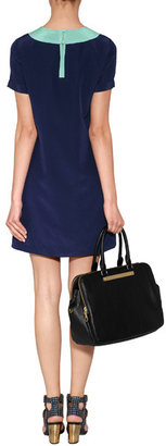 Marc by Marc Jacobs Silk Bowery Dress with Collar in Carpathian Blue Multi