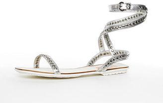 Michael Kors Kors Yulissa Ankle-Wrap Sandal, Silver