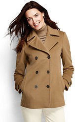 Lands' End Women's Luxe Wool Peacoat-Black $179 thestylecure.com