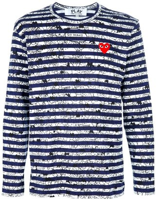 Comme des Garcons striped logo t-shirt