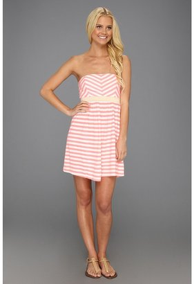 Roxy Now You See It Dress (Neon Coral Stripe) - Apparel