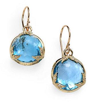 Mizuki Blue Topaz, Diamond & 14K Yellow Gold Drop Earrings