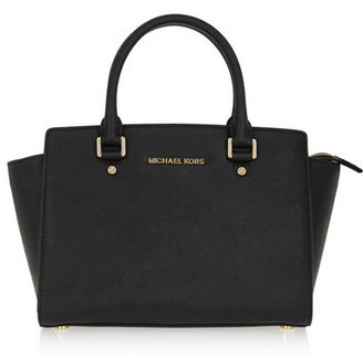 MICHAEL Michael Kors - Selma Medium Textured-leather Tote - Black $300 thestylecure.com
