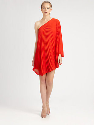Milly Nicola Pleated One-Shoulder Dress