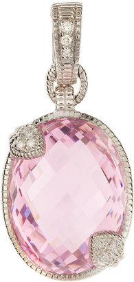 Judith Ripka Fontaine Two-Heart Pink Crystal Pendant