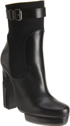Lanvin Combo Platform Ankle Boot with Plated Heel