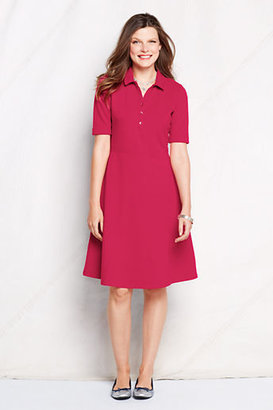 Lands' End Women's Petite Elbow Sleeve Fit and Flare Polo Dress