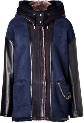 Sophie Hulme Leather Ted Shearling Coat in Navy/Pink