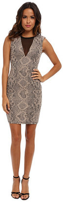 ABS by Allen Schwartz Stretch Python Jacquard Dress with Deep V