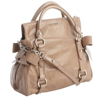 Miu Miu Tan Leather Small Convertible Top Handle Bag