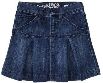 Gap Pleated denim mini skirt (dark wash)