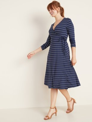 Old Navy Patterned Jersey Wrap-Front Midi Dress for Women