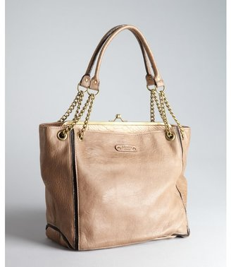 Abaco taupe and nude color block leather 'Louise' chain handle tote