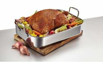 Anolon Tri-Ply Clad Stainless Steel 17-Inch x 12.5-Inch Rectangular Roaster with Nonstick Rack